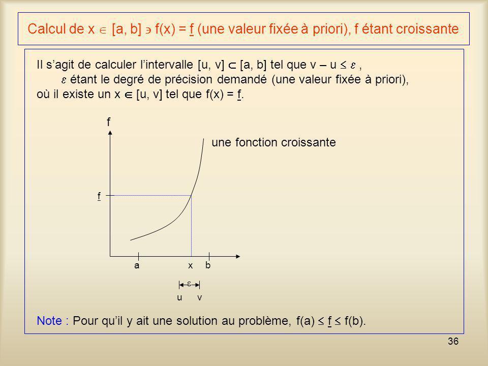 Calcul de x  [a, b]  f(x) = f (une valeur fixée à priori), f étant croissante